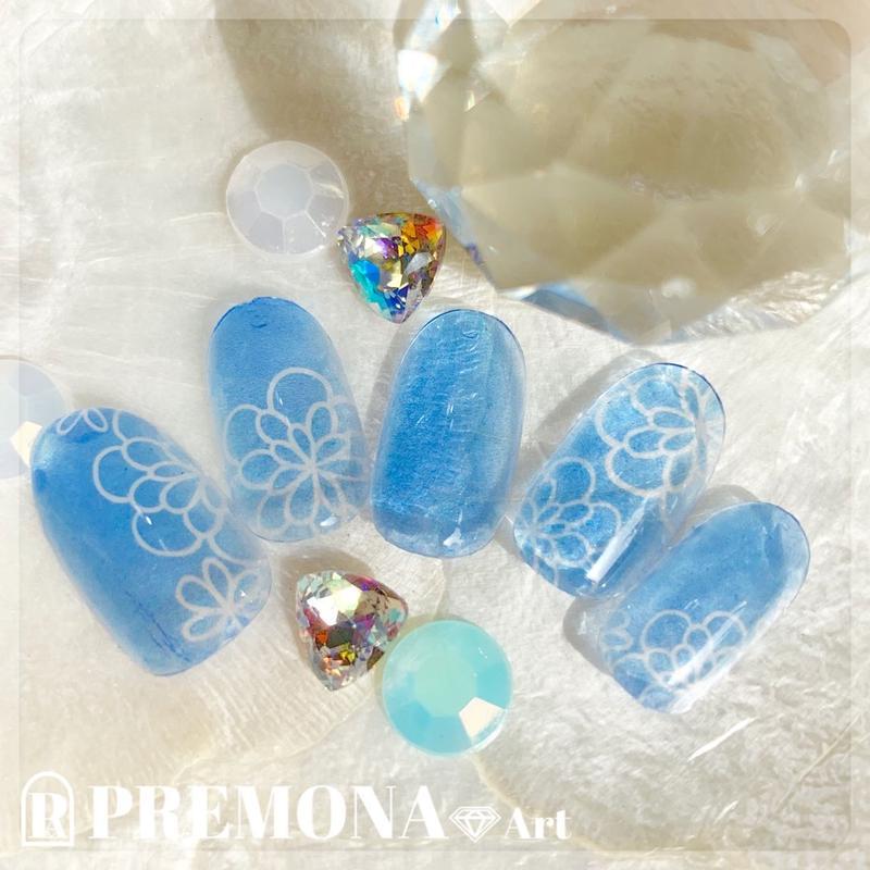 【10枚セット】ガラスフラワー(ライトブルー)/SET1540-1549