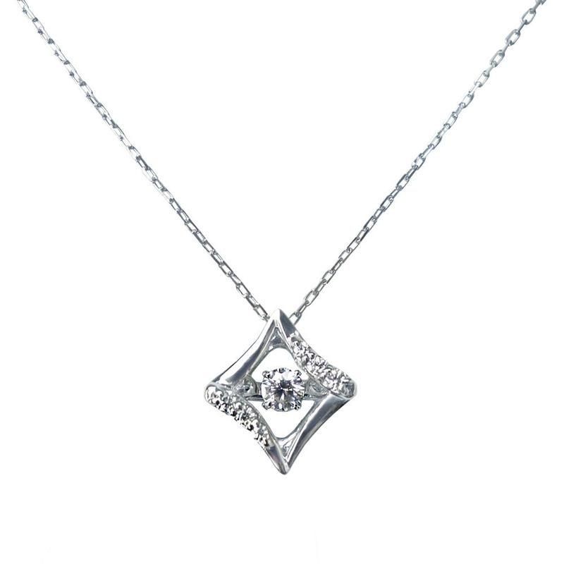 QIREINI K10WG H&Cダイヤモンドネックレス(ダンシングストーン)