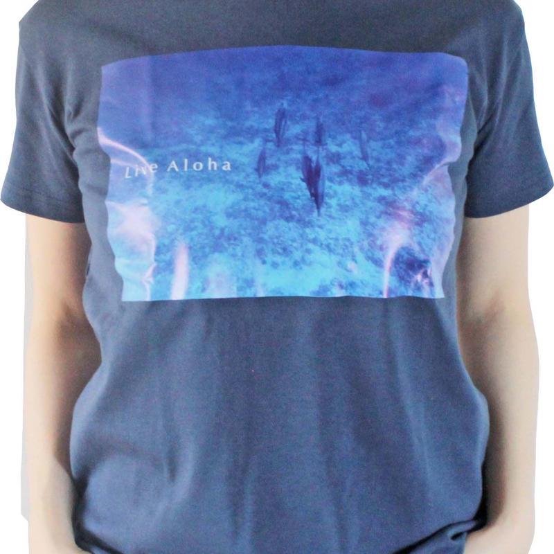 T-shirt <Navy×Kona Blue>