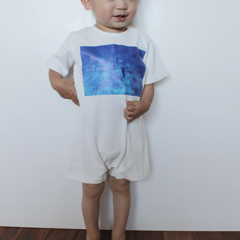 Rompers<ロンパース> White×Kona Blue