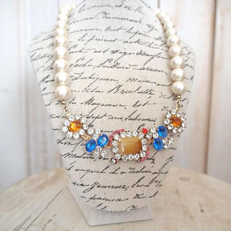 cotton pearl bijoux necklace 032②