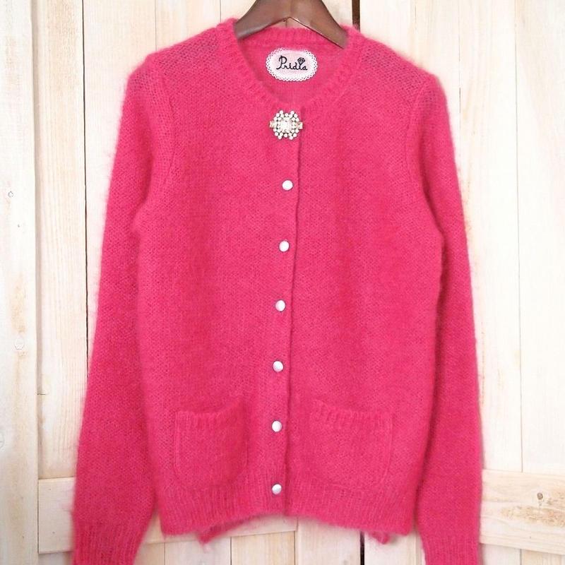 fur mohair bijou Cardigan pink