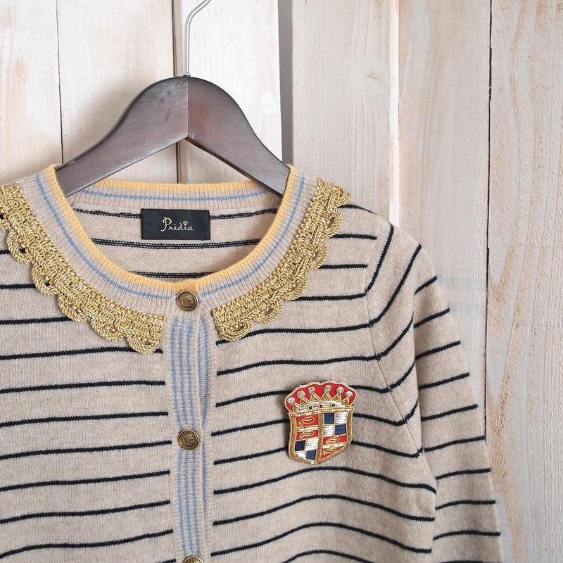 【1点物】cashmere marine Cardigan beige x navy