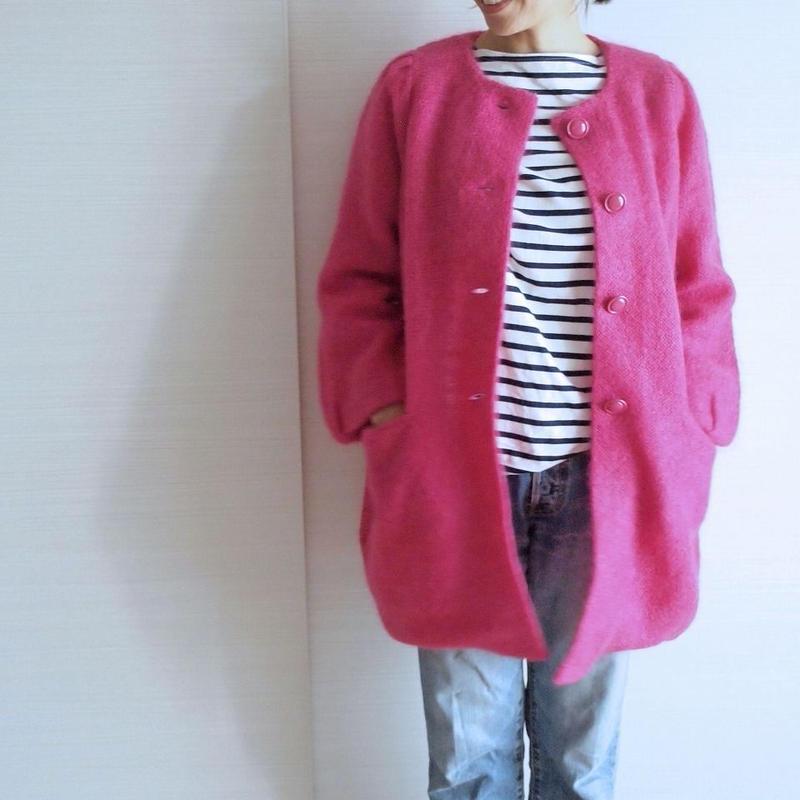 fur mohair Coat pink