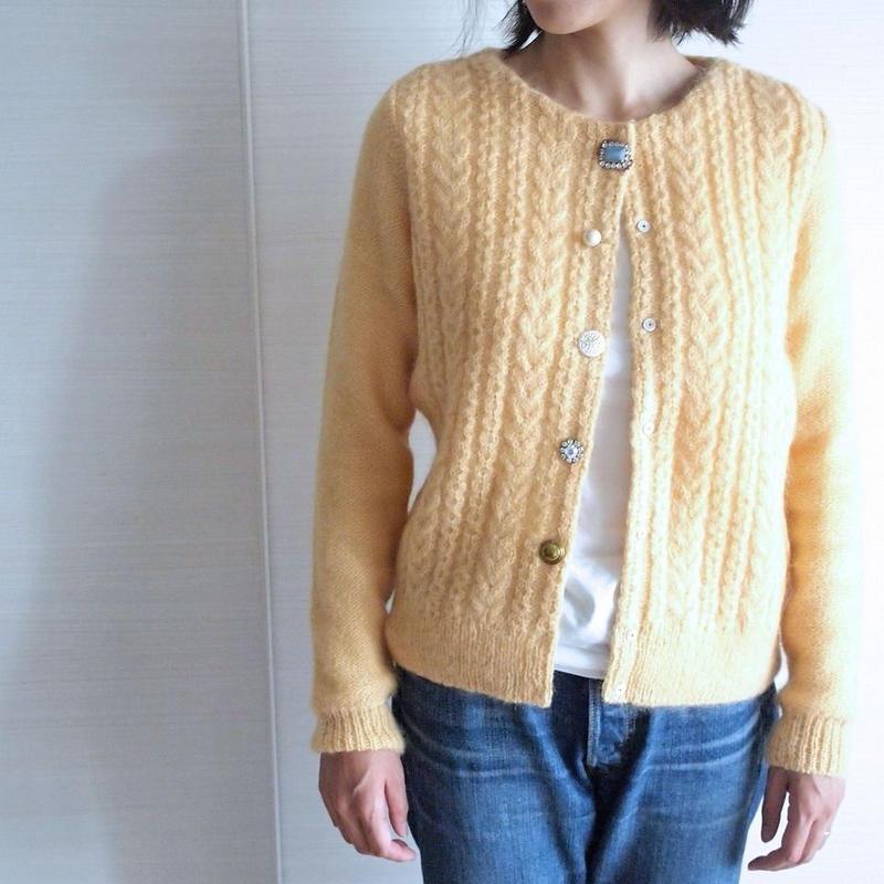 cable bijoux Cardigan yellow