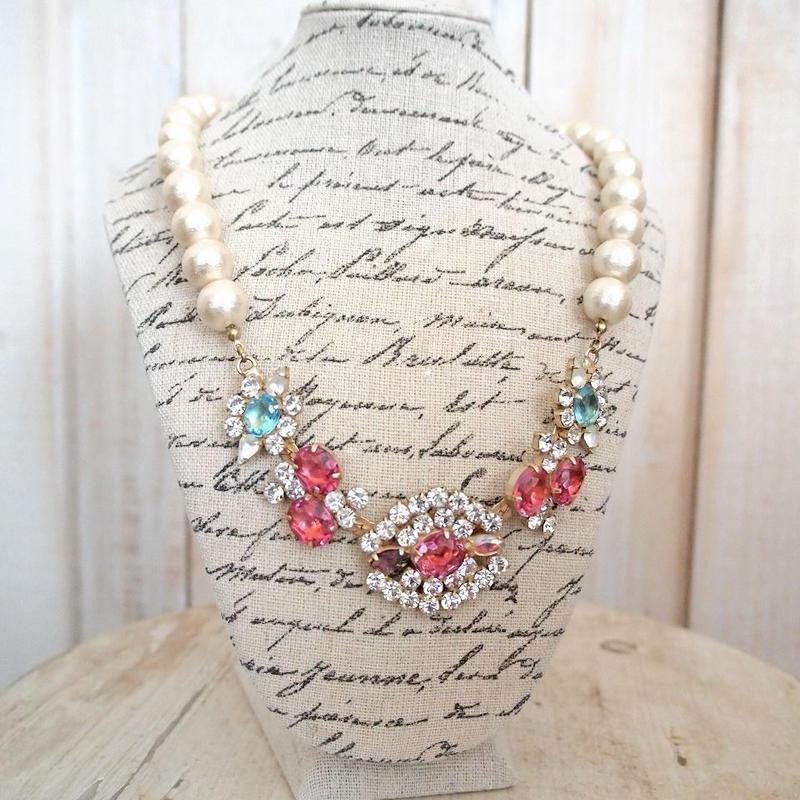 cotton pearl bijoux necklace 032③