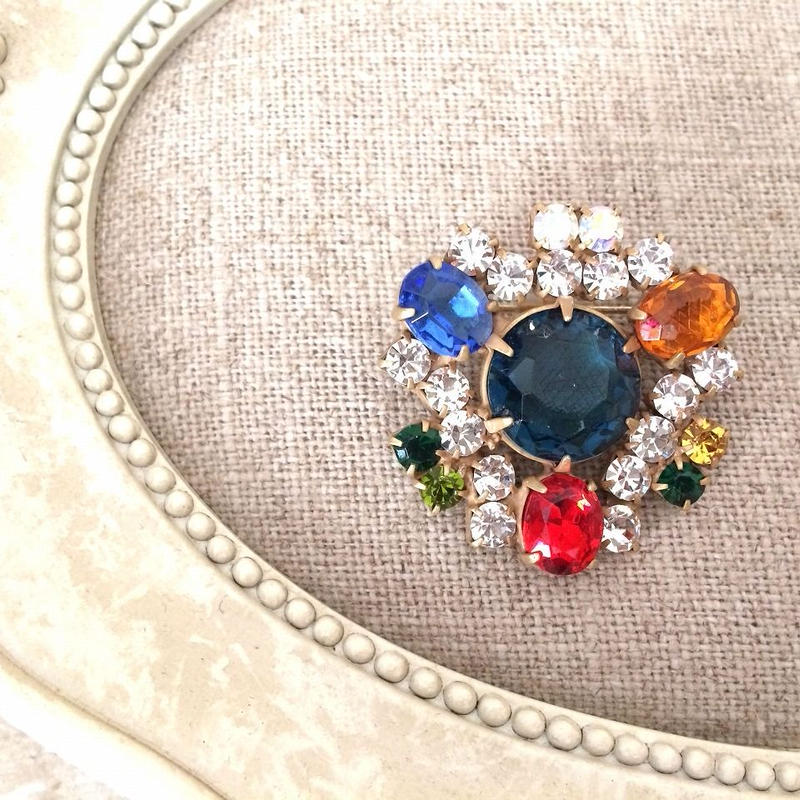 bijou brooch ④  dark bluegreen x multi