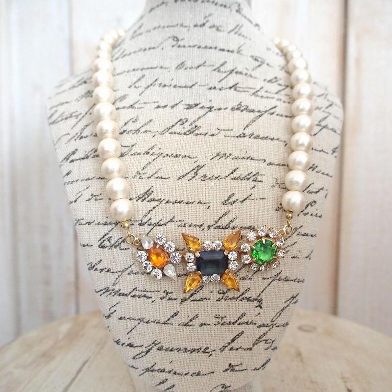 cotton pearl bijoux necklace petite 33①