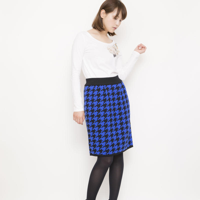 【SALE】hound`s tooh Skirt blue x black
