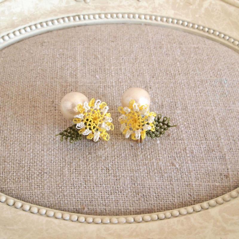pearl flower Earrings yellow flower