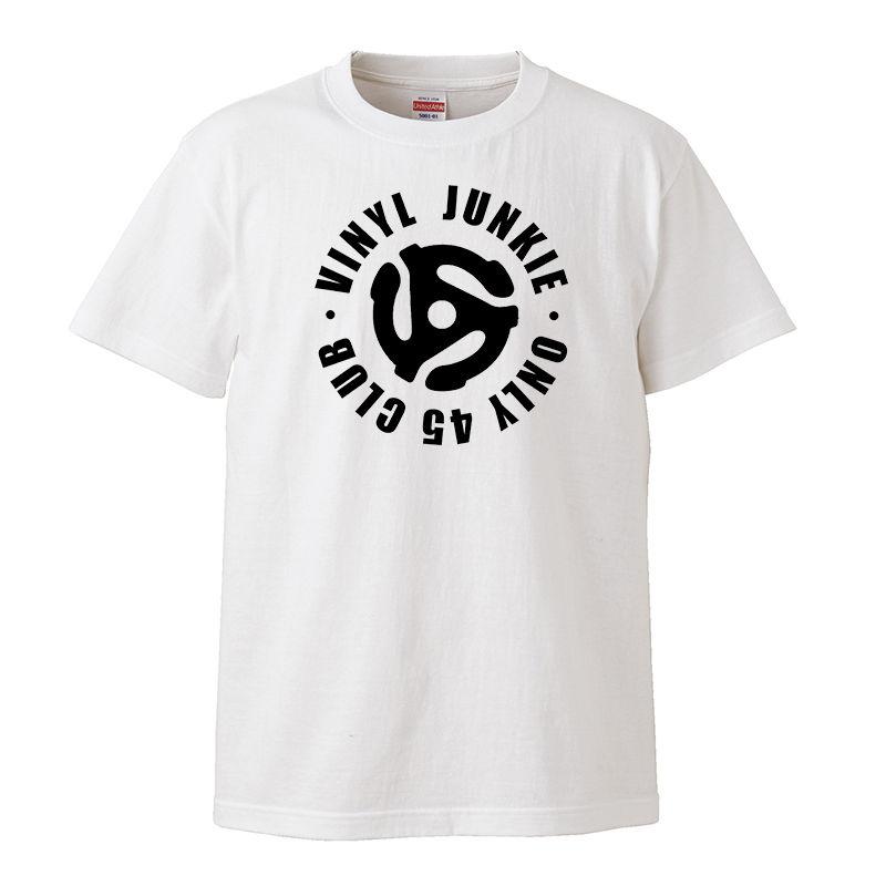 【VINYL JUNKIE-ONLY 45 CLUB/ ヴァイナルジャンキー】5.6オンス Tシャツ/WH/ST-125