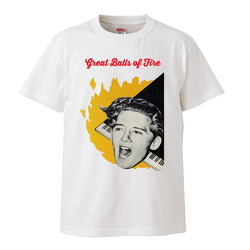 【Jerry Lee Lewis-Great Balls of Fire/ジェリー・リー・ルイス】5.6オンス Tシャツ/BK/ST- 224