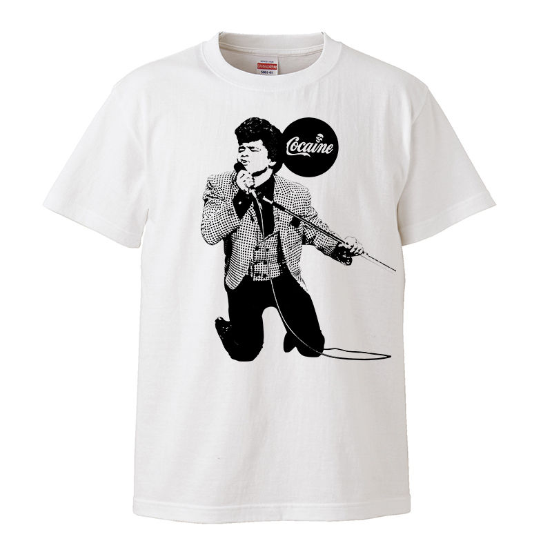【James brown-ジェームズ・ブラウン/cocaine】5.6オンス Tシャツ/WH/ST- 283