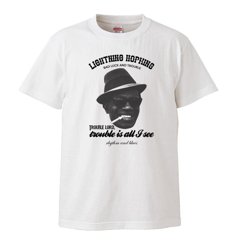 【Lightning' Hopkins-Bad luck and Trouble/ライトニン・ホプキンス】5.3オンス Tシャツ/WH/ST- 250