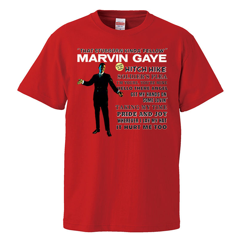 【Marvin Gaye-マーヴィン・ゲイ/stubborn kind of fellow】 5.6オンス Tシャツ/RD/ST- 303