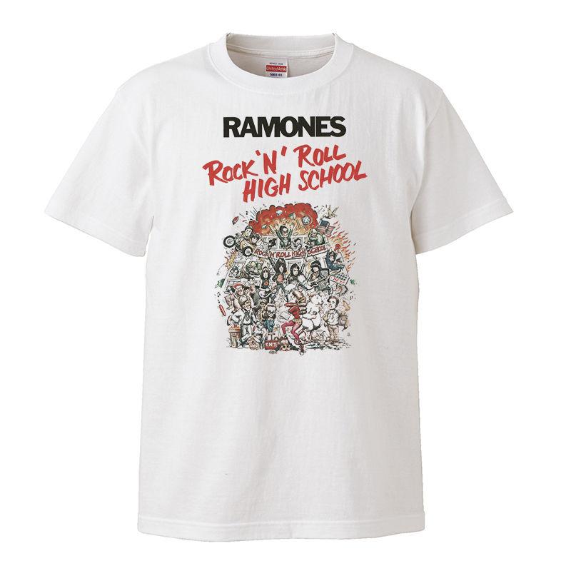 【Ramones-Rock 'n' Roll High School /ラモーンズ-ロックンロールハイスクール】5.6オンス Tシャツ/WH/ST-084