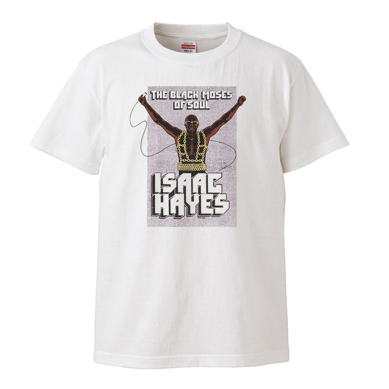 【Isaac Hayes - The Black Moses of Soul/ アイザックヘイズ】5.6オンス Tシャツ/WH/ST-120