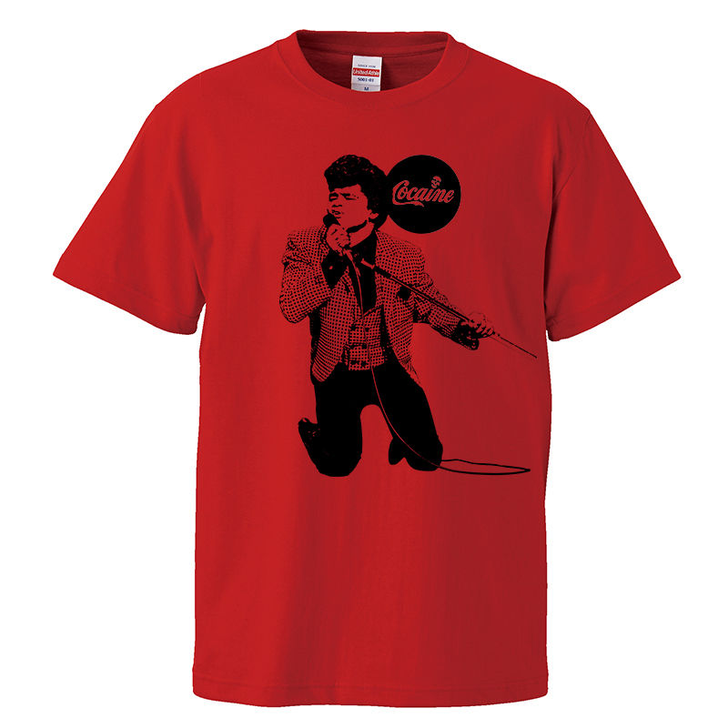 【James brown-ジェームズ・ブラウン/cocaine】5.6オンス Tシャツ/RD/ST- 283