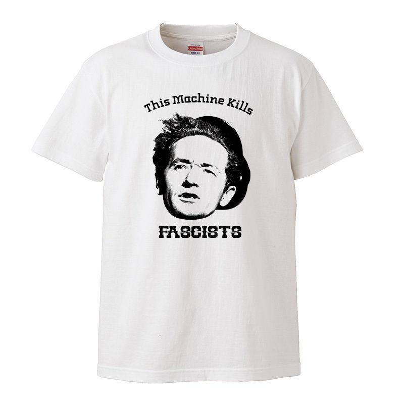 【Woody Guthrie-ウディ・ガスリー/キルズ・ファシスト】5.6オンス Tシャツ/WH/ST- 353