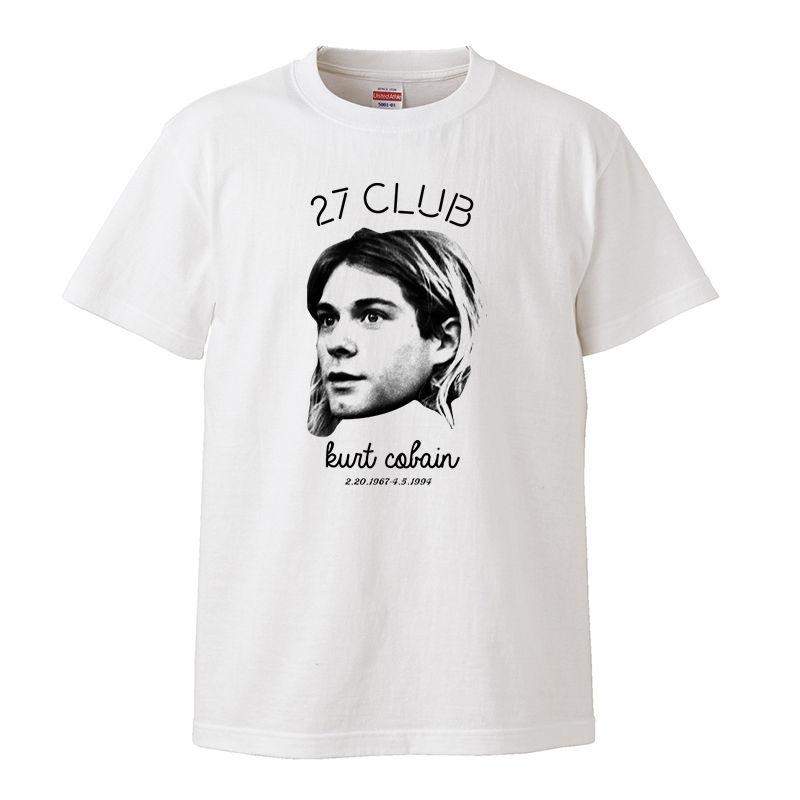 【27cub/Kurt Cobain-カート・コバーン】5.6オンス Tシャツ/WH/ST- 325