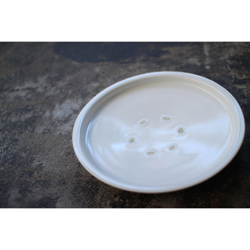 白磁9寸皿 乳濁釉 小泉敦信