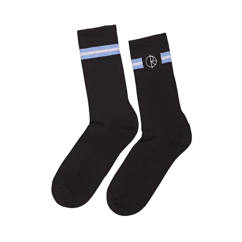 POLAR SKATE CO. STROKE LOGO SOCKS  Black/Dusty Blue/White