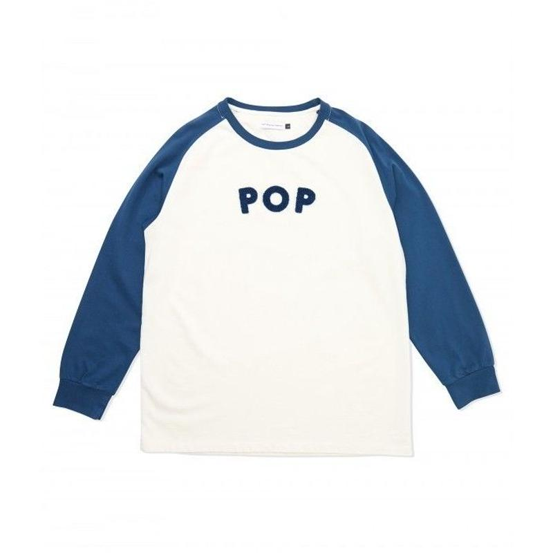 POP TRADING  UNI RAGLAN LONGSLEEVE T-SHIRT OFF WHITE/DARK TEAL