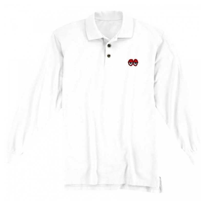 Krooked Stock Eyes Embroidered Long Sleeve Polo Shirt - White
