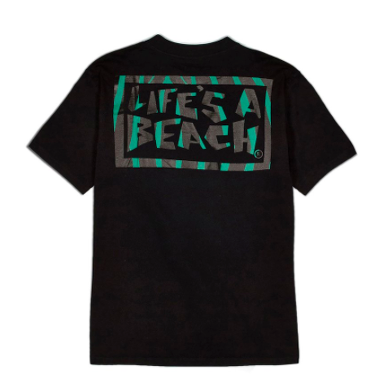LIFE'S A BEACH Logo Jungle Tee Black