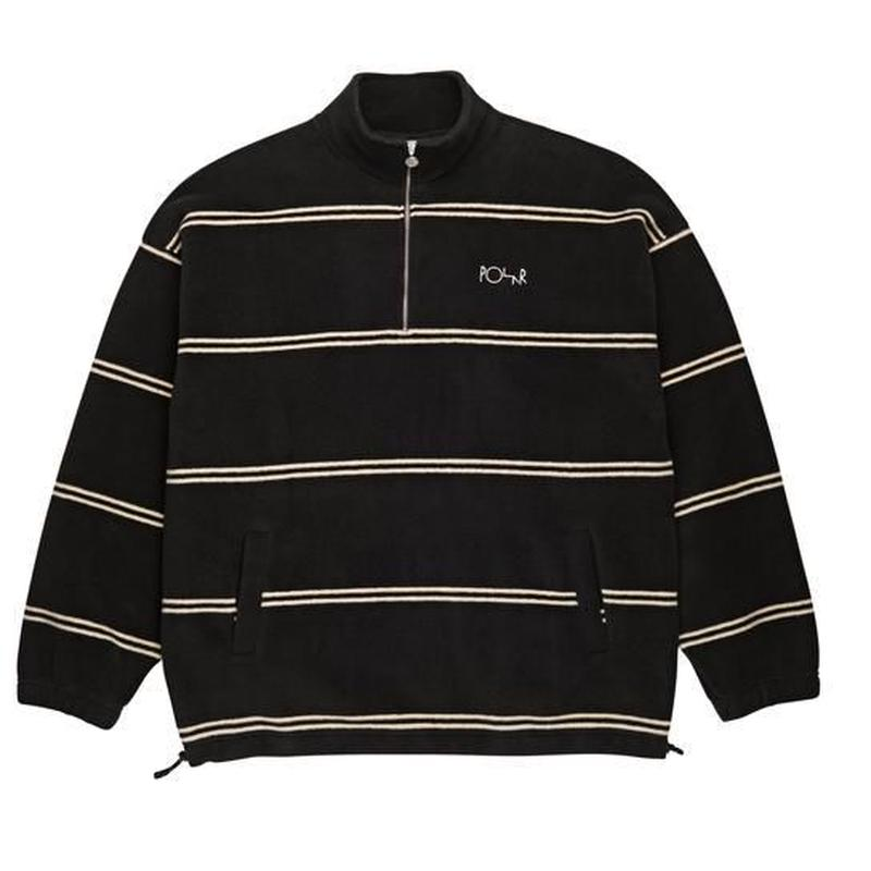 POLAR SKATE CO. STRIPED FLEECE PULLOVER Black / Ivory