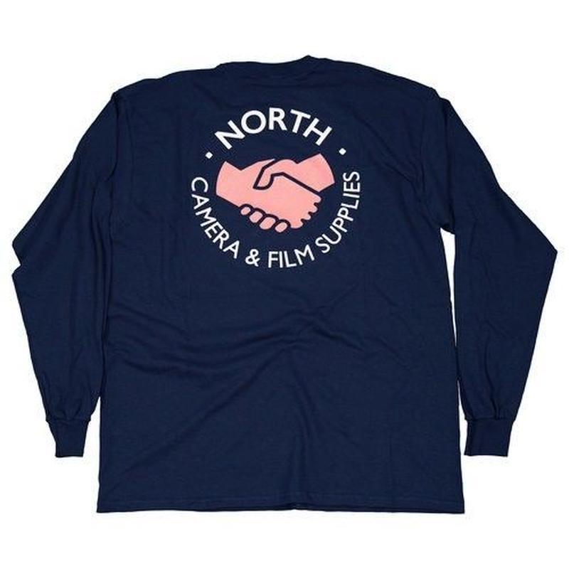NORTH SKATE MAG North Supplies Logo Long Sleeve T-Shirt - Navy/Peach/White