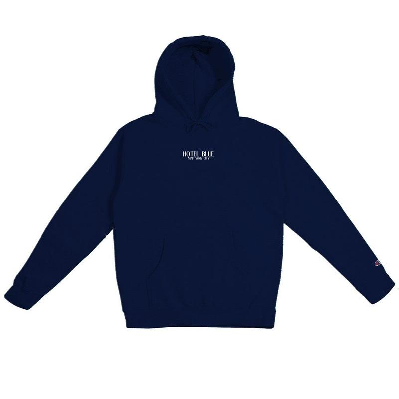 HOTEL BLUE LOGO CHAMPION HOODY NAVY