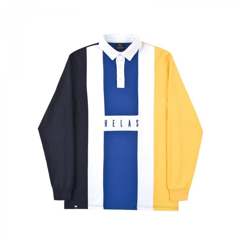HELAS HERMANO L/S POLO NAVY/BLUE/YELLOW
