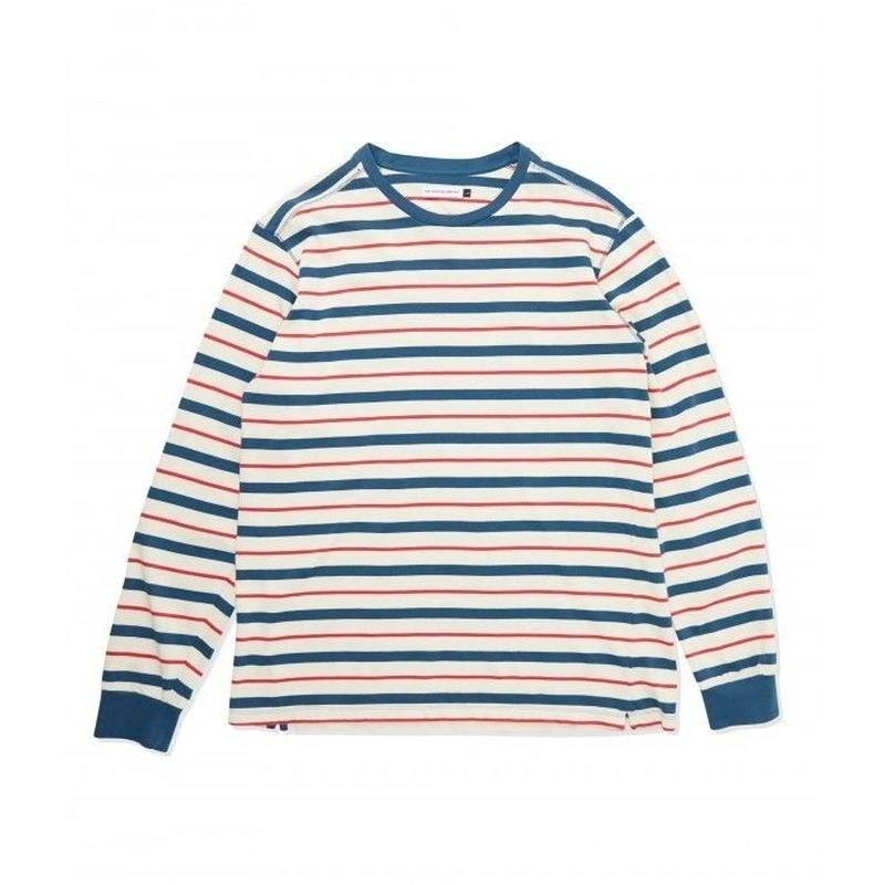 POP TRADING KRIS STRIPED LONGSLEEVE T-SHIRT DARK TEAL/OFFWHITE