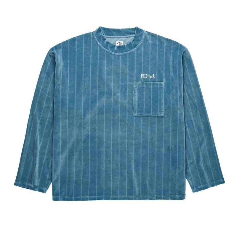 POLAR SKATE CO. VELOUR  PULLOVER G.BLUE