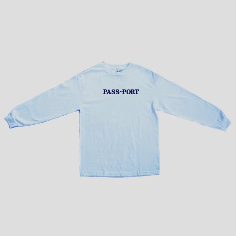 """PASS~PORT """"OFFICIAL EMBROID"""" L/S TEE POWDER BLUE"""