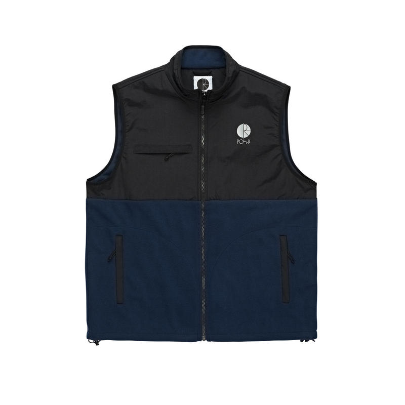 POLAR SKATE CO. HALBERG FLEECE VEST Black / Obsidian Blue