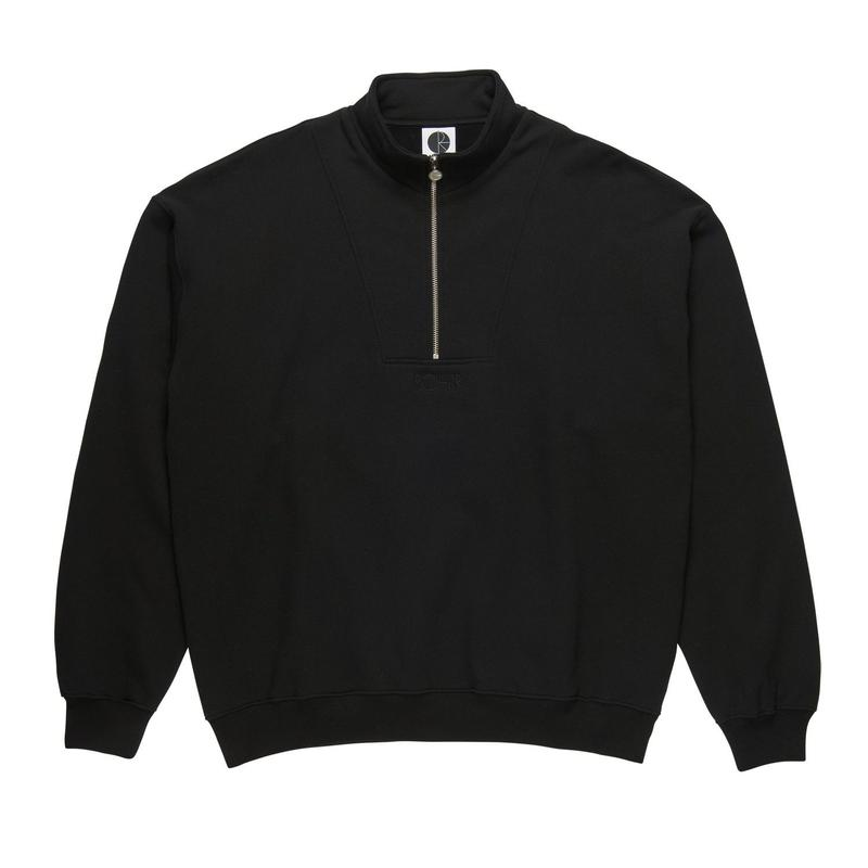 POLAR SKATE CO. ZIP NECK SWEATSHIRT BLK