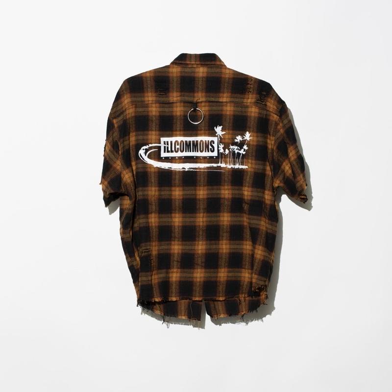 ILLCOMMONS BROWN CHECK  S/S SHIRTS (イルコモンズ ブラウンチェックシャツ)