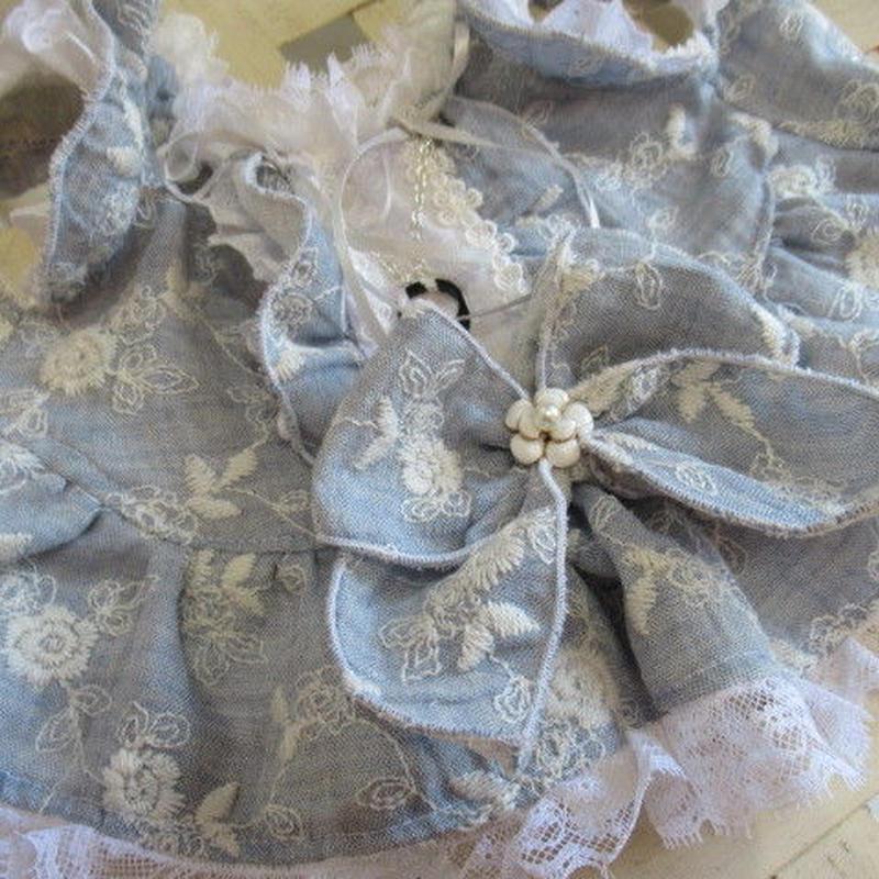 Wガーゼ刺繍のチュニックブラウス