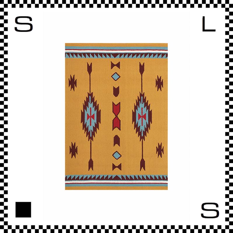 アートワークスタジオ Chimayo チマヨ ラグ ネイティブアメリカン風 Mサイズ オレンジ 80×50cm ハンドメイド 床暖房・Hカーペット対応 TR-4280-OR