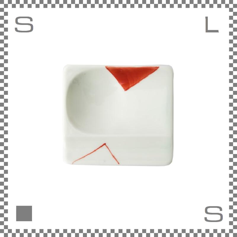 aiyu アイユー 重宝皿 対角濃 赤 レッド W8/D7.2/H1.3cm スクエアプレート 万能皿 箸置きスペースあり 波佐見焼 日本製