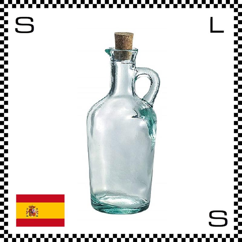 リサイクルガラス ガラスオイルボトル 450cc Φ85/H192mm ハンドル付き コルク蓋 カフェ スペイン製 g490041