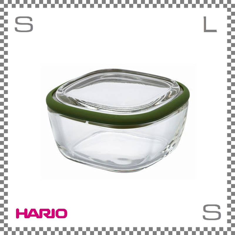HARIO ハリオ スクエアコンテナ クリア Sサイズ オリーブグリーン 250ml W104/D104/H56mm 耐熱ガラス製 電子レンジ可 オーブン可 食洗機可 日本製 cwk-s-og
