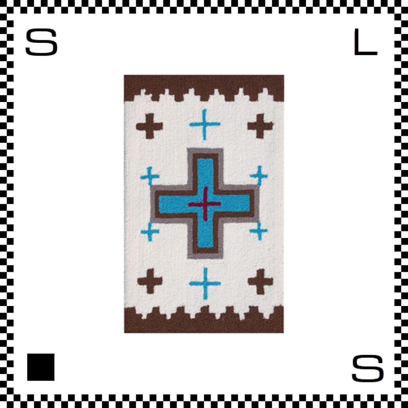 アートワークスタジオ Cross クロス ラグ ネイティブアメリカン風 Sサイズ ホワイト 80×50cm ハンドメイド 床暖房・Hカーペット対応 TR-4277-WH