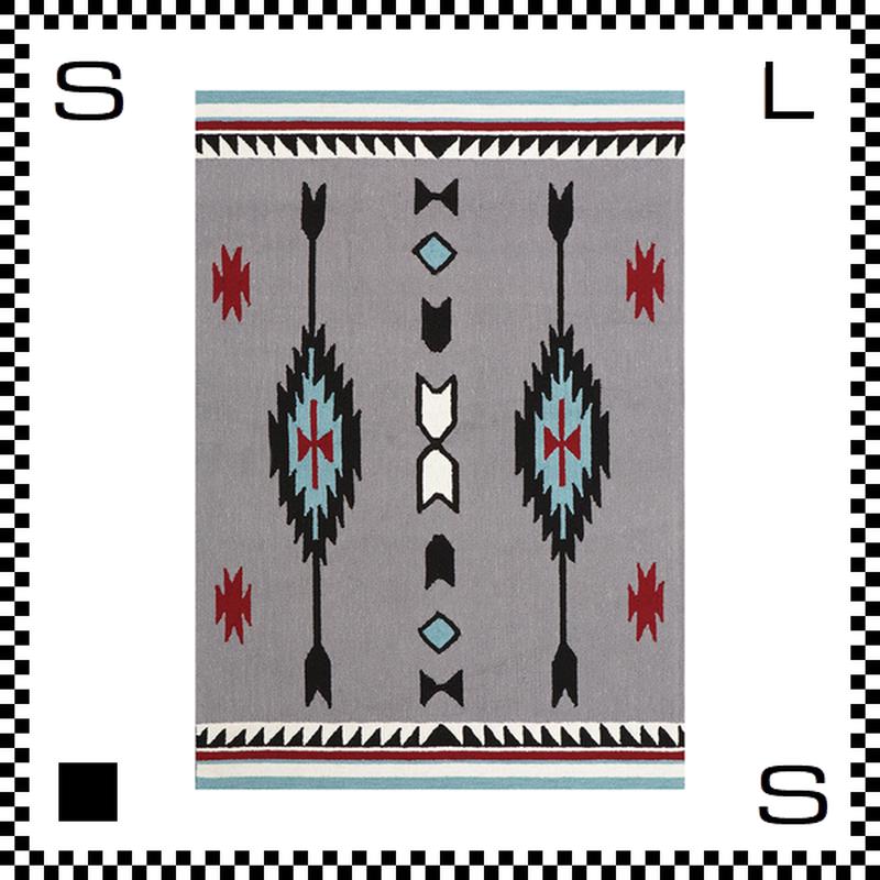 アートワークスタジオ Chimayo チマヨ ラグ ネイティブアメリカン風 Lサイズ グレー 200×140cm ハンドメイド 床暖房・Hカーペット対応 TR-4238-GY