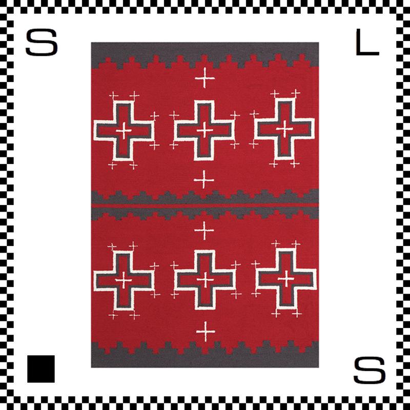 アートワークスタジオ Cross クロス ラグ ネイティブアメリカン風 Lサイズ レッド 200×140cm ハンドメイド 床暖房・Hカーペット対応 TR-4239-RD