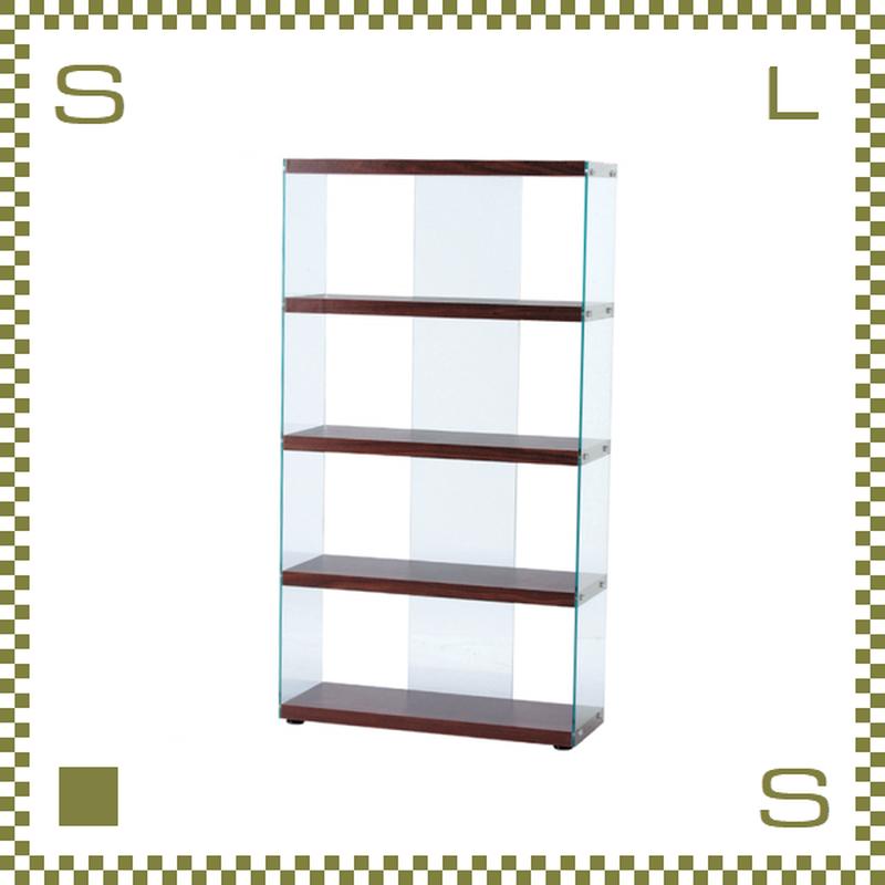 グラスシェルフ 4段 ブラウン W83/D31.5/H149cm 強化ガラス使用 オープンシェルフ 底面アジャスター付き azu-hab624br