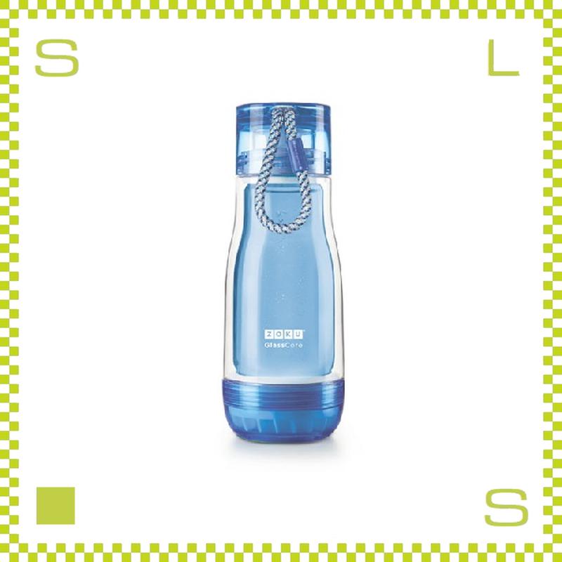 ZOKU ゾク コアボトル 355ml ブルー ダブルウォール ストラップ付 内側:耐熱ガラス 水筒 携帯ボトル
