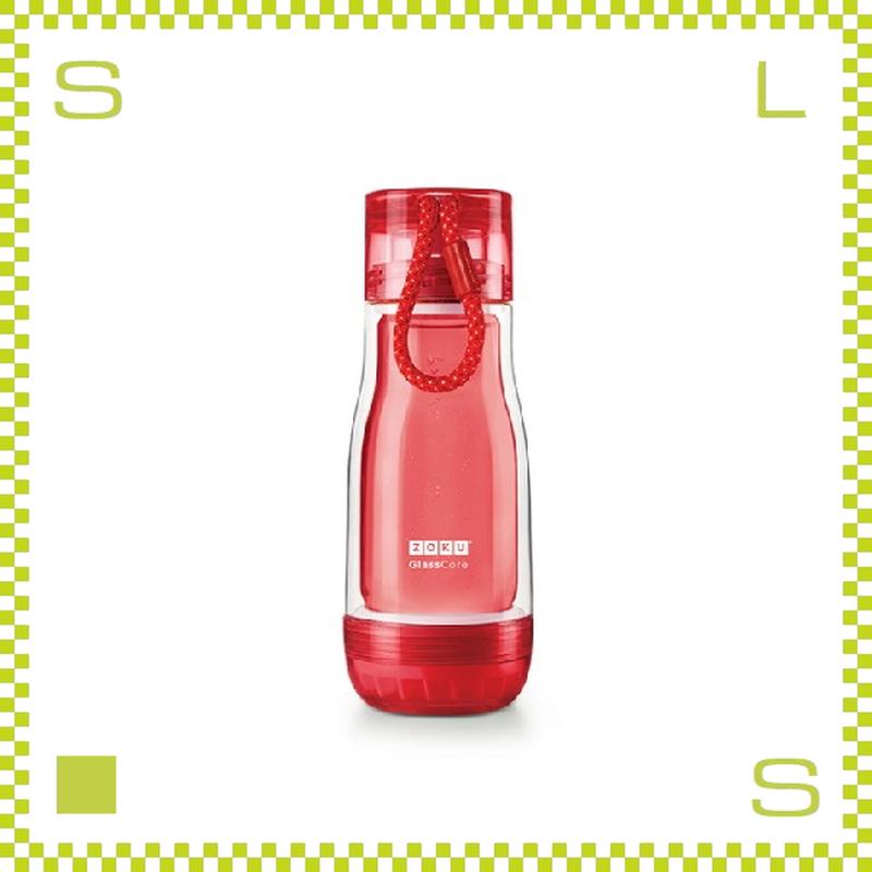 ZOKU ゾク コアボトル 355ml レッド ダブルウォール ストラップ付 内側:耐熱ガラス 水筒 携帯ボトル
